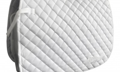 White Dressage Saddle Pads by LuxeEquine